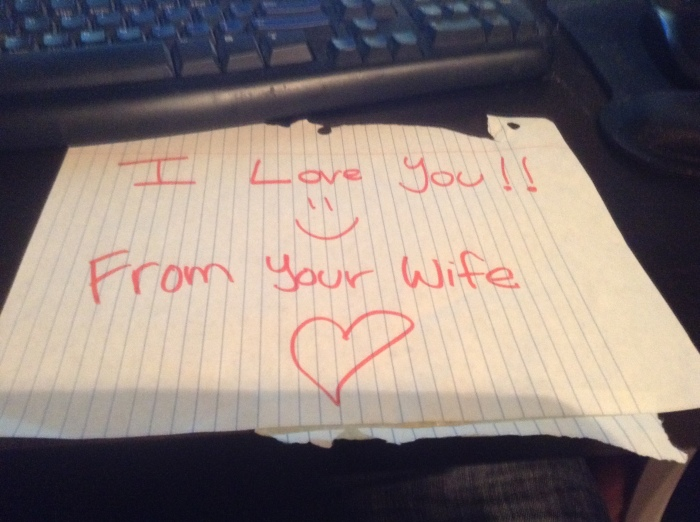 A love note that my wife left on my bike while I was working.