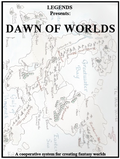 The cover on the 12 page PDF of the rules for Dawn of Worlds