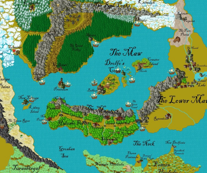 This maps shows the vast trade area influenced by the Merfolk in Gurutama.