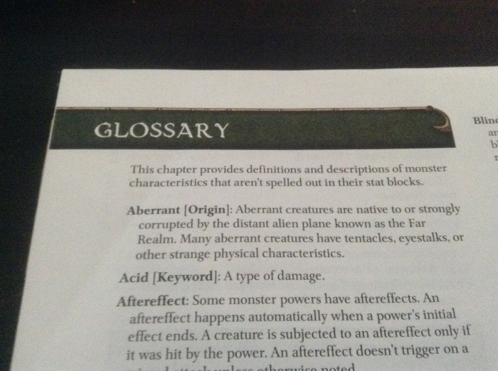 A photo of the glossary page in the 4th edition D&D Monster Manual