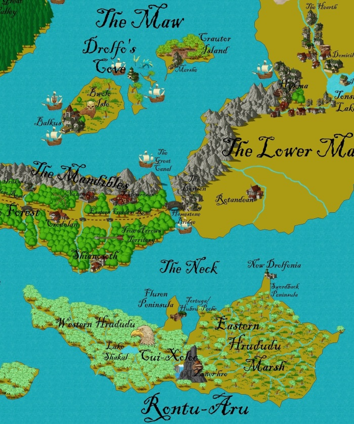This map shows the Avian continent of Rontu-Aru and the central islands of the Merfolk.