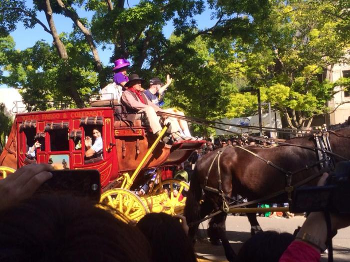 A Wells Fargo carriage pulled by a four horses. The lady in the purple hat was the best speaker for the opening of Picnic Day.
