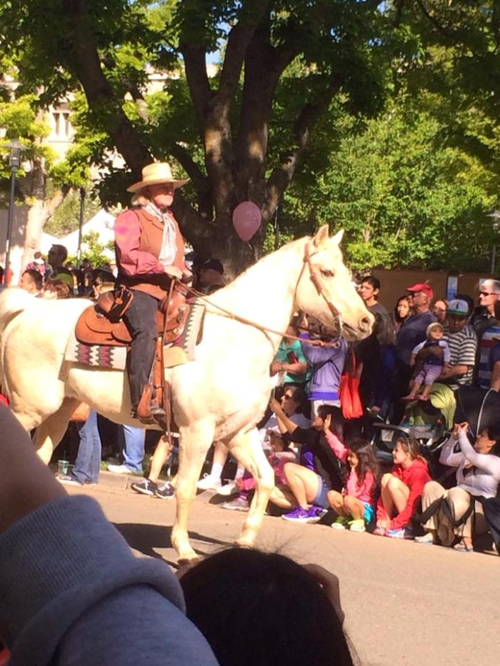 A cowboy on a horse during the Picnic Day Parade.