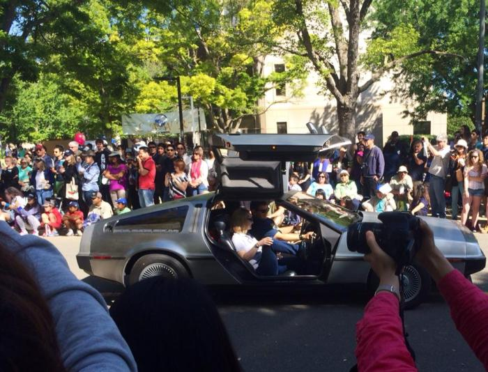 There were about seven Deloreans in the Picnic Day Parade. This is just one of them going down the street.