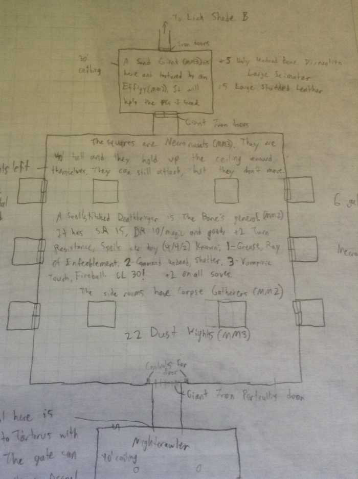 Room 2 of the Lich Shade dungeon drawn using graph paper with notes on it.