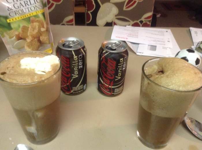 Two Coke floats my wife and I made.