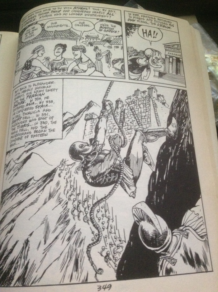 One of the few realistic drawings of Larry Gonick depicting Alexander the Great capturing the Sogdian Rock.