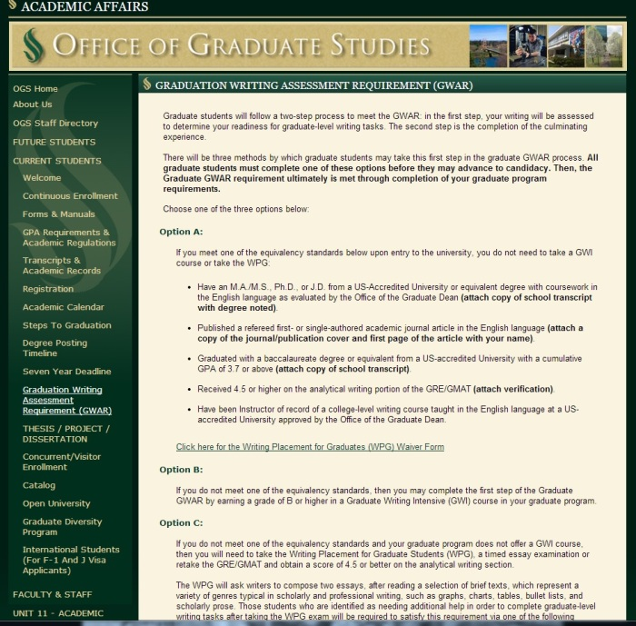 The guidelines for how to prove you are a competent writer for Sac State's Master's Program.