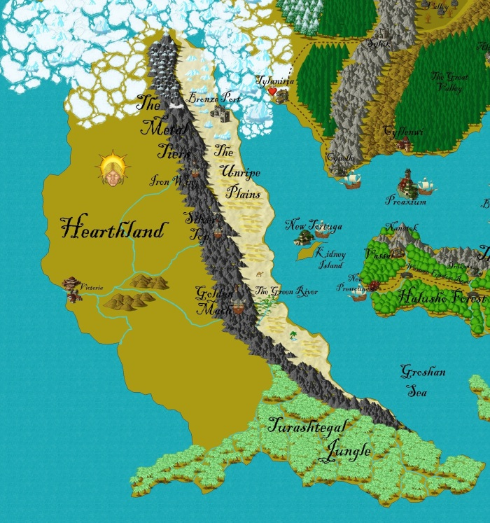 The continent of Gurutama that the dwarves originated in, Hearthland.