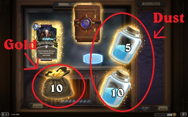 The different items you can have in Hearthstone: cards, packs, gold, and dust.