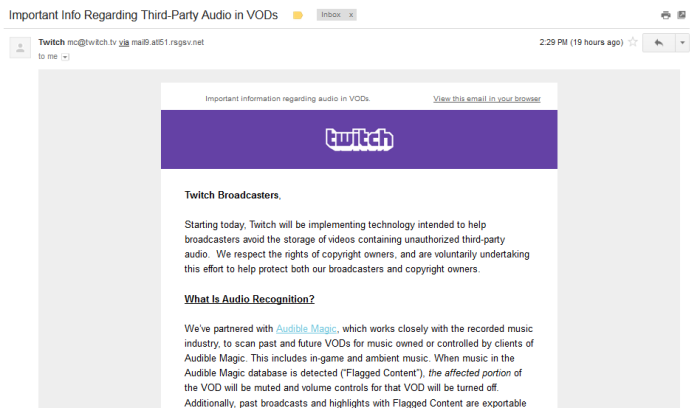 The first part of an email that Twitch sent out to all their users.