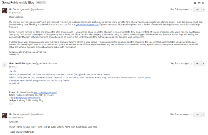 EEEEEEE! Gretchen Rubin emailed me! *faints*
