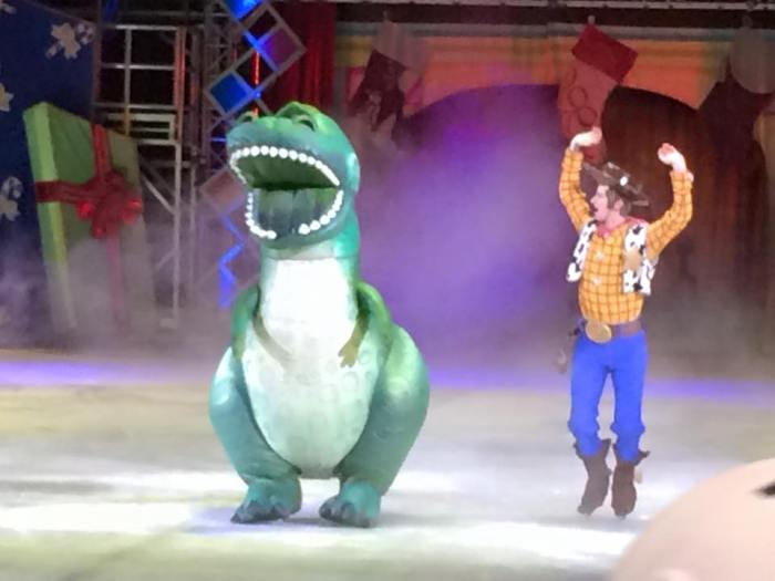I know what you're thinking and no, Woodie did not make merry with the dinosaur.